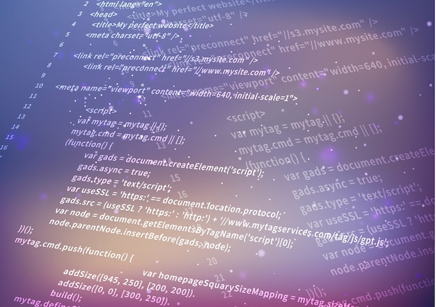 Código html complicado blanco sobre fondo borroso