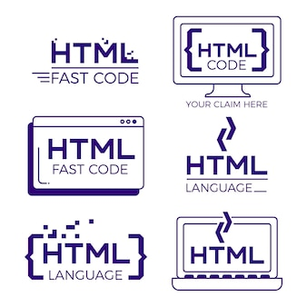 Código logo set diseño plano