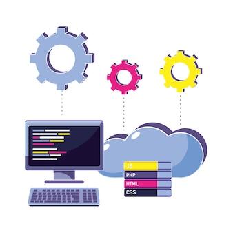 Código de programación informática y datos en la nube con engranajes