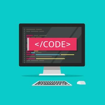 Código de programación en la pantalla de la computadora o ilustración de desarrollo de programa clipart de estilo plano de dibujos animados
