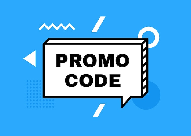 Código de promoción, banner de código de cupón. banner geométrico con diferentes formas abstractas. ilustración moderna.