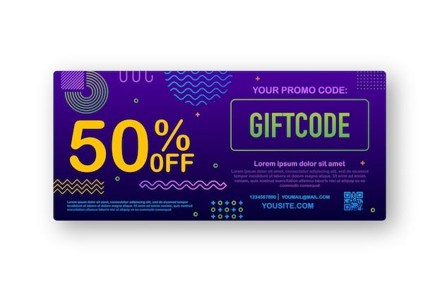 Código promocional. vale de regalo con código de cupón. fondo de tarjeta de regalo electrónica premium para comercio electrónico, compras en línea. márketing. ilustración.