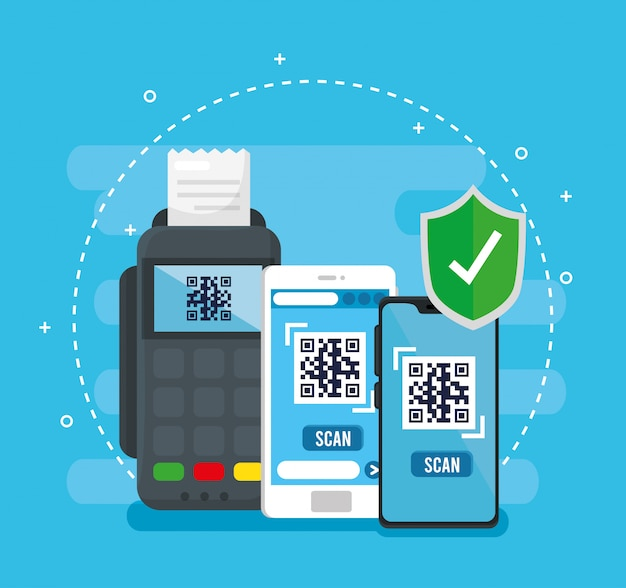 Código qr dentro de teléfonos inteligentes, dataphone y diseño de vector de escudo