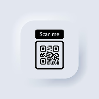 Código qr para el icono de teléfono inteligente. código qr para el pago. escanearme con el icono de teléfono inteligente. botón web de interfaz de usuario blanco neumorphic ui ux. neumorfismo. vector eps 10.,