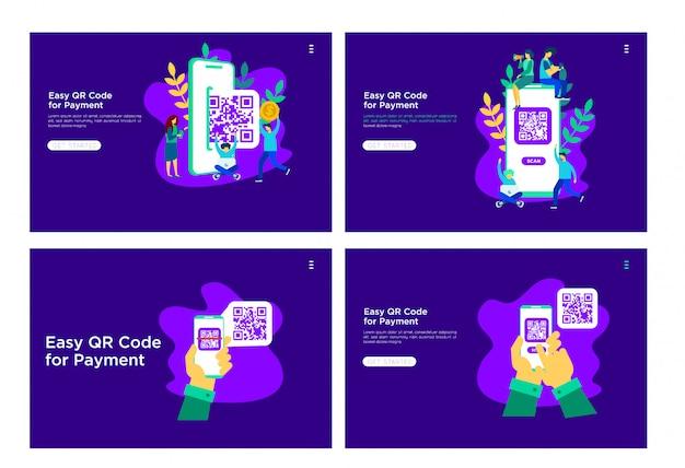Código qr ilustración plana