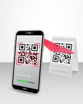 Código qr pago sin efectivo a través de un teléfono inteligente en la tienda