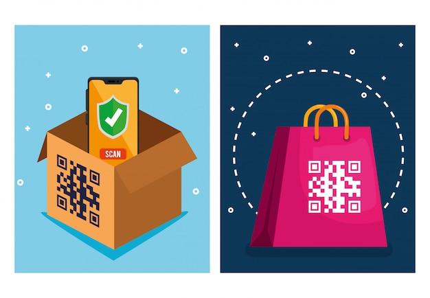 Código qr sobre caja de bolsa de compras y diseño vectorial de teléfono inteligente