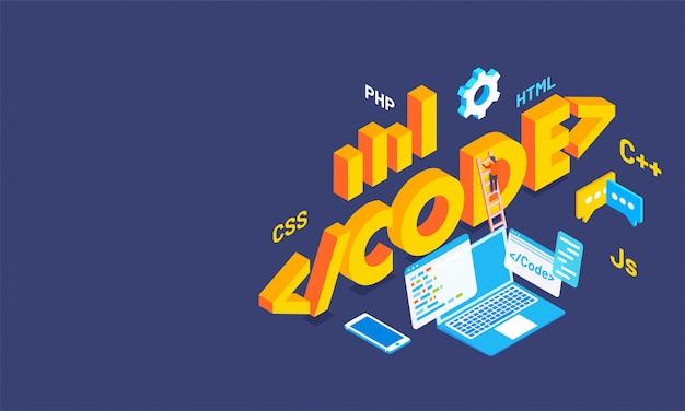 Código de texto 3d con múltiples lenguajes de codificación.