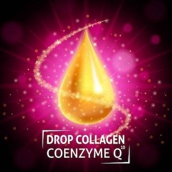 Coenzima de colágeno en suero, gota dorada realista