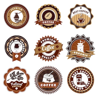 Coffe emblems labels set marrón
