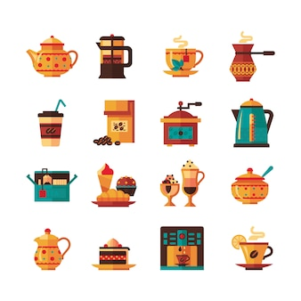 Coffe y tea set icons flat