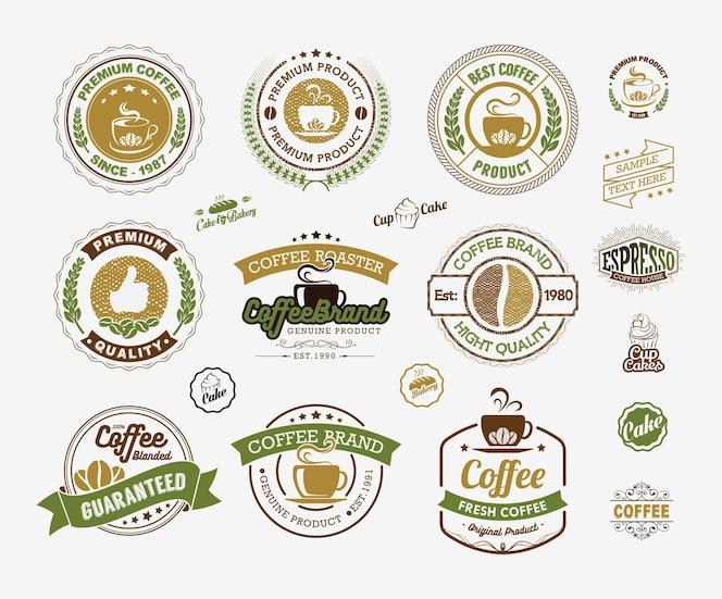 Coffee logos insignias y etiquetas elemento