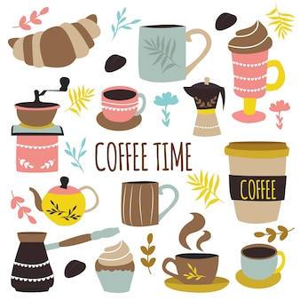 Coffee time hand drawn design