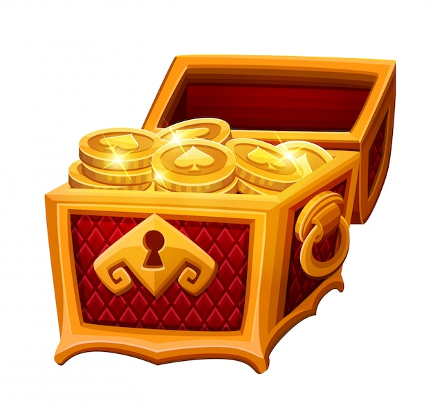 Cofre dorado con monedas