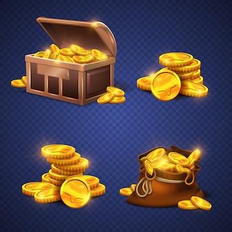 Cofre de madera y bolso viejo grande con las monedas de oro, pila del dinero aislada.