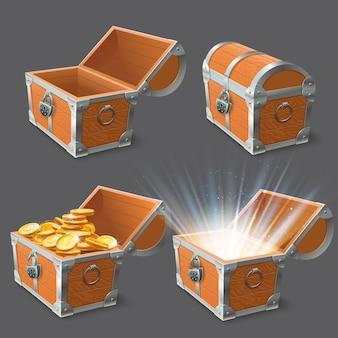 Cofre de madera. cofre del tesoro, caja de oro brillante y cerradura de cofres vacíos cerrados o abiertos conjunto de ilustración 3d