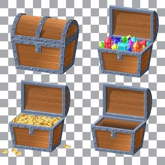 Cofre de madera con dinero y diamantes.