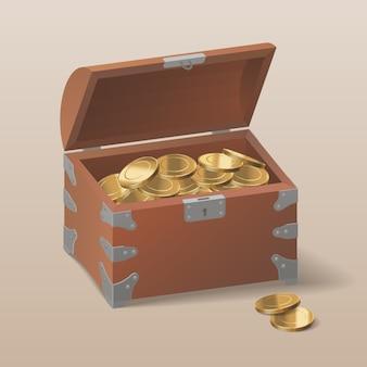Cofre con monedas de oro