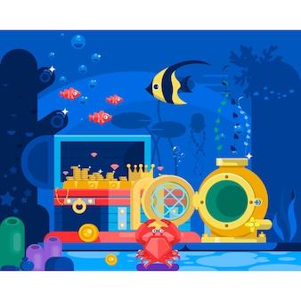 Cofre de oro en la arena bajo el agua. paisaje de la vida marina - el océano y el mundo submarino con diferentes habitantes. ilustración vectorial