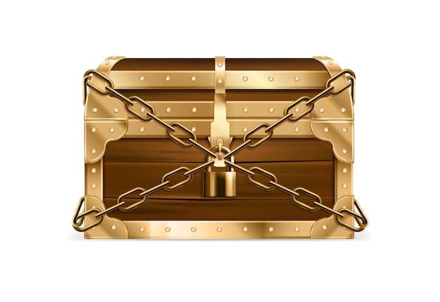 Cofre realista tesoro de madera cerrado asegurado con cadena y candado vintage