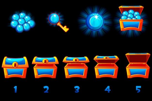 Cofre del tesoro animado con gema preciosa azul. paso a paso, caja llena y vacía, abierta y cerrada. iconos en capas separadas.