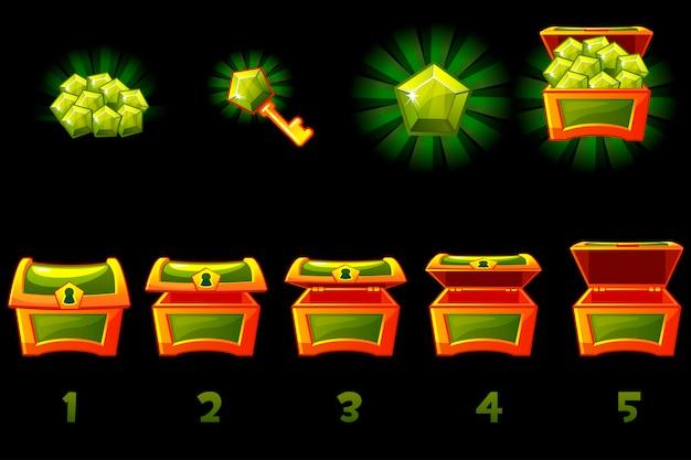 Cofre del tesoro animado con gema verde preciosa. paso a paso, caja llena y vacía, abierta y cerrada. iconos en capas separadas.