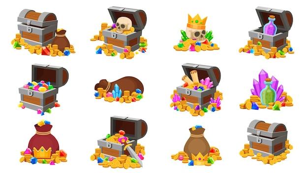 Cofre del tesoro. dibujos animados de monedas piratas con calavera, diamantes, mapa y pociones. juego de fantasía de oro del tesoro en cofres de madera y bolsas conjunto de vectores