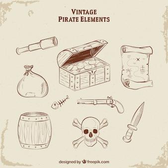 Cofre del tesoro con elementos de pirata dibujados a mano