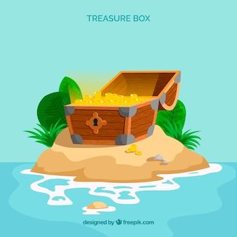 Cofre del tesoro de madera con diseño plano