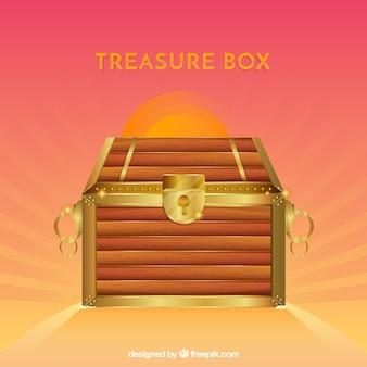 Cofre del tesoro de madera con diseño realista