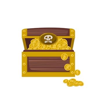 Cofre del tesoro pirata con icono de monedas de oro para juegos y diseño de niños