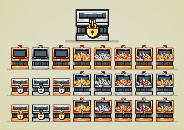 Cofres azules abiertos y cerrados con monedas y gemas para videojuegos.