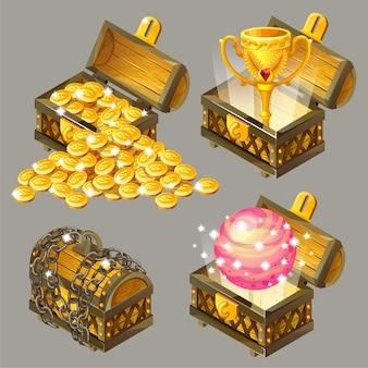 Cofres isométricos de dibujos animados con tesoros.