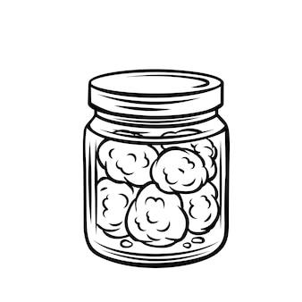 Cogollos de cannabis en icono de contorno de tarro de cristal.