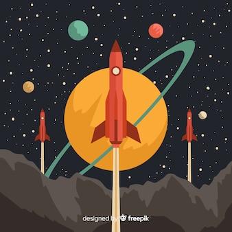 Cohete adorable con estilo vintage
