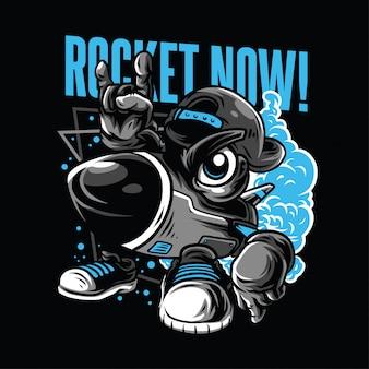 ¡cohete ahora! ilustración