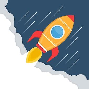 Cohete amarillo en el espacio, lanzamiento de cohete, concepto de inicio