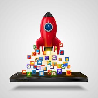 Cohete de aplicación de iconos móviles sobre el fondo blanco. ilustración vectorial