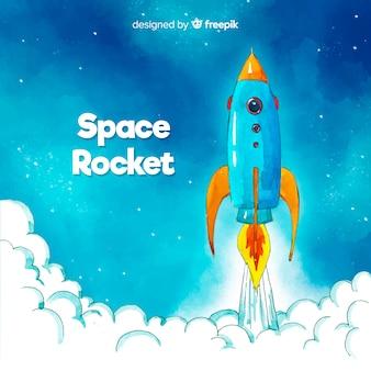 Cohete colorido dibujado a mano