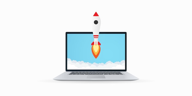Cohete despega de la ilustración de la computadora portátil