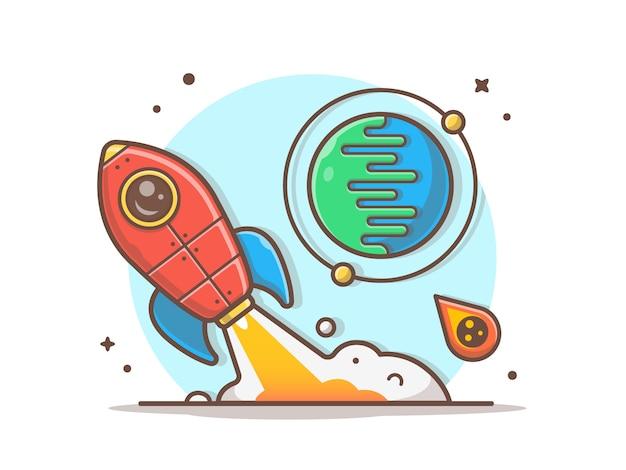 Cohete despegando con planeta y meteorito ilustración vectorial