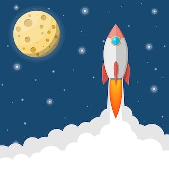 Cohete de dibujos animados en el cielo