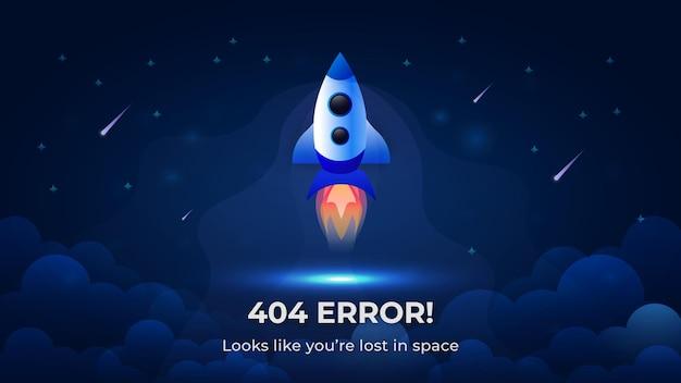 Cohete de error 404 lanzándose al espacio diseño de fondo moderno
