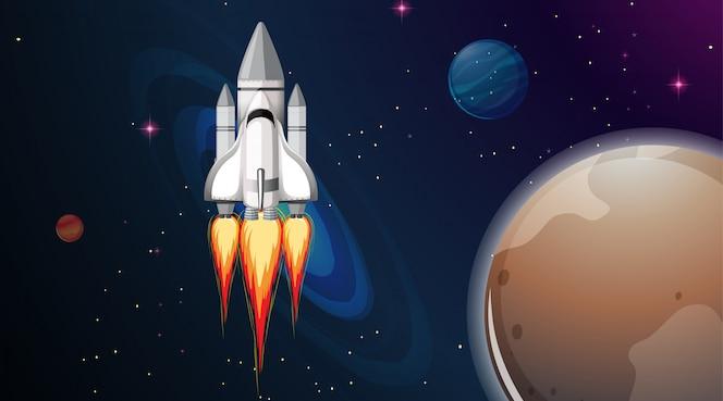 Cohete en escena espacial