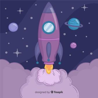 Cohete espacial adorable con diseño plano
