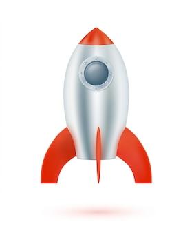 Cohete espacial aislado. ilustración vectorial