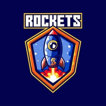 Cohete espacial ciencia futuro e-sport viajes galaxia cielo vector