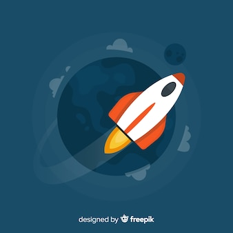 Cohete espacial clásico con diseño plano