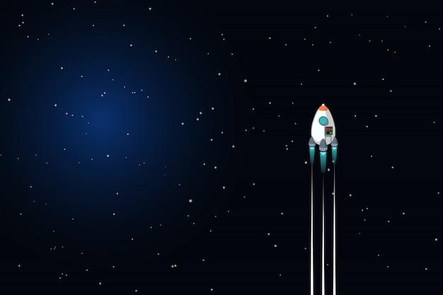 Cohete espacial en el espacio profundo