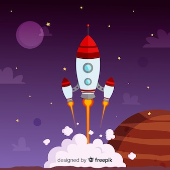 Cohete espacial moderno dibujado a mano